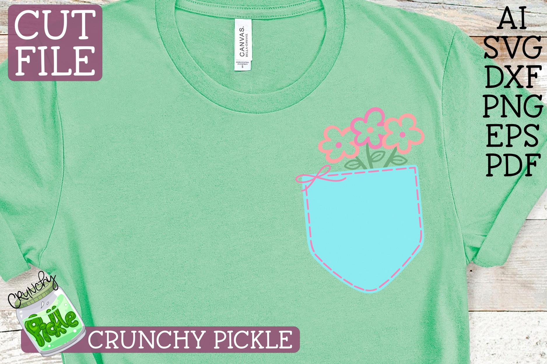 Pickle Pockets - Monogram Pocket Mom Flowers SVG Cut File example image 3