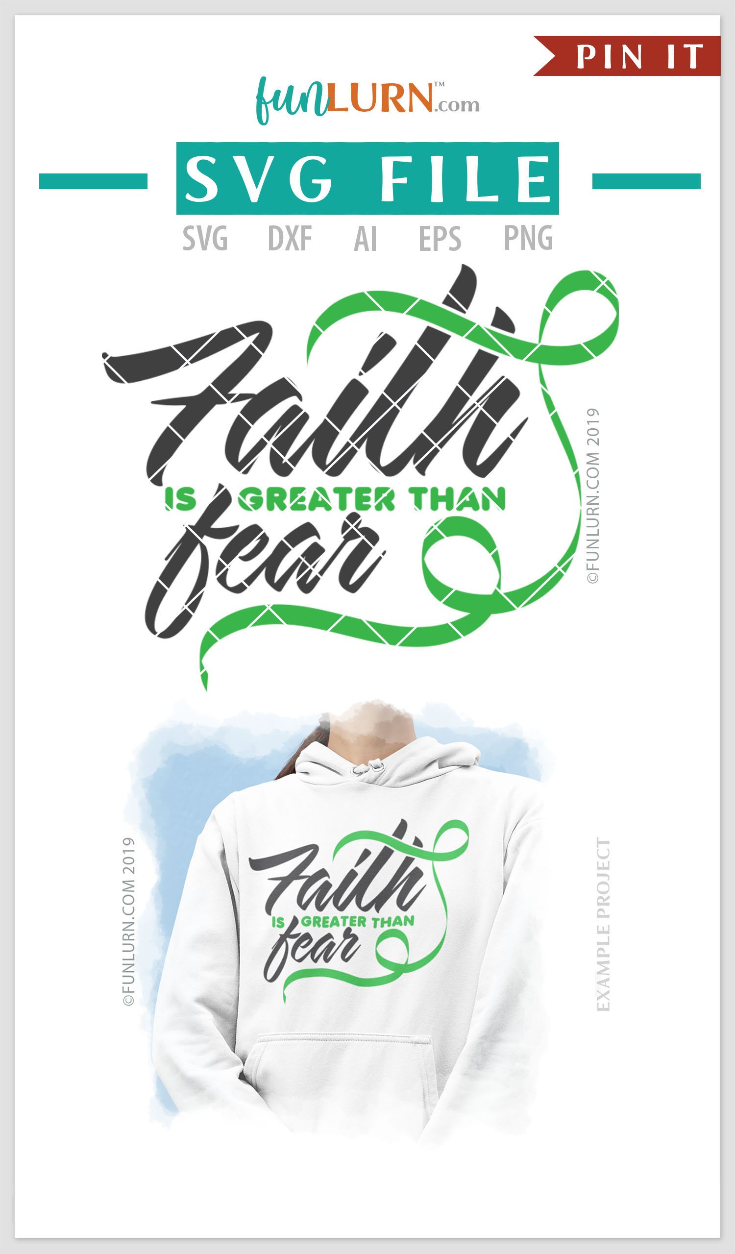 Faith is Greater Than Fear Light Green Ribbon SVG Cut File example image 4