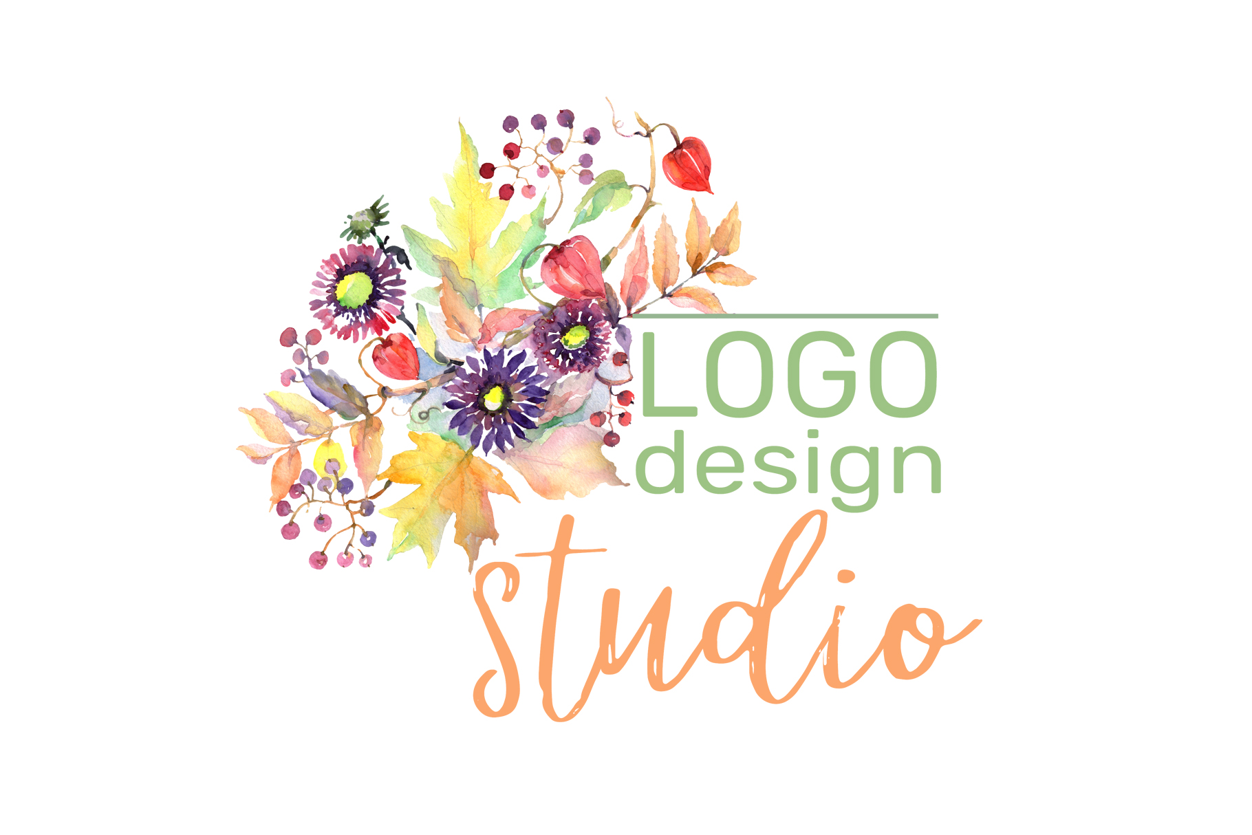 LOGO with asters, maple leaves and physalis Watercolor png example image 3