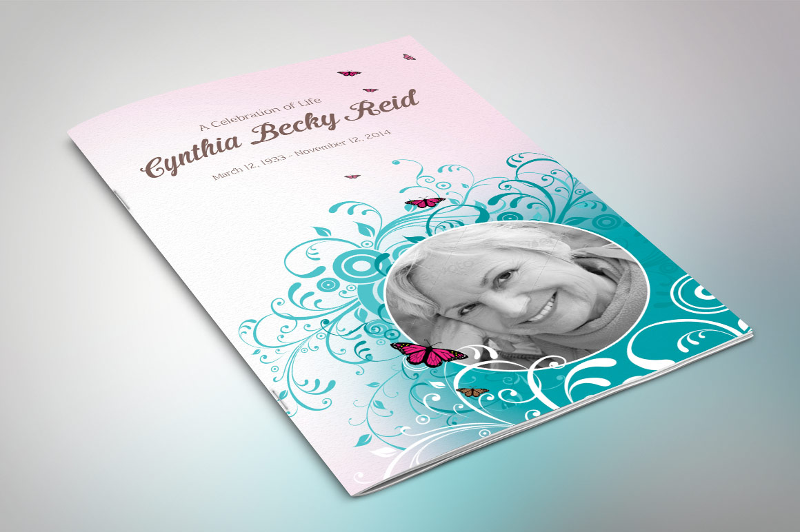 Flourish Funeral Program Template example image 1