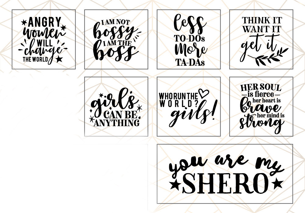 Woman Up Girl Power SVG Cut File Bundle example image 3