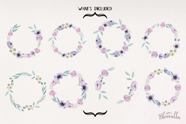 Lilac Wreaths Watercolor 8 Flowers Leaves Purple Berries example image 3