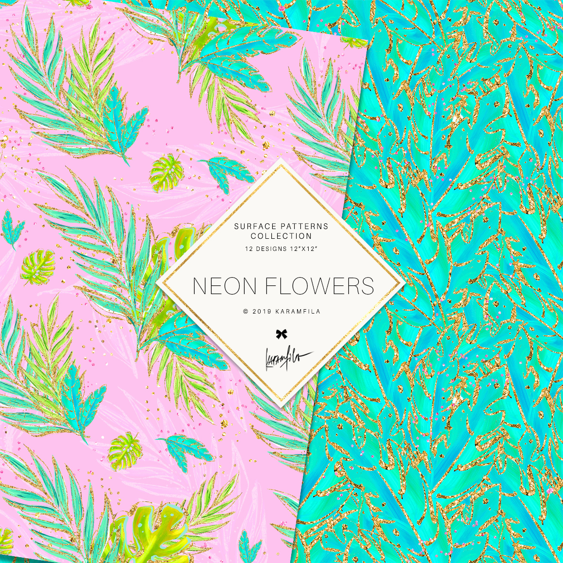 Neon Tropical Digital Paper, Tropical Floral Patterns example image 2