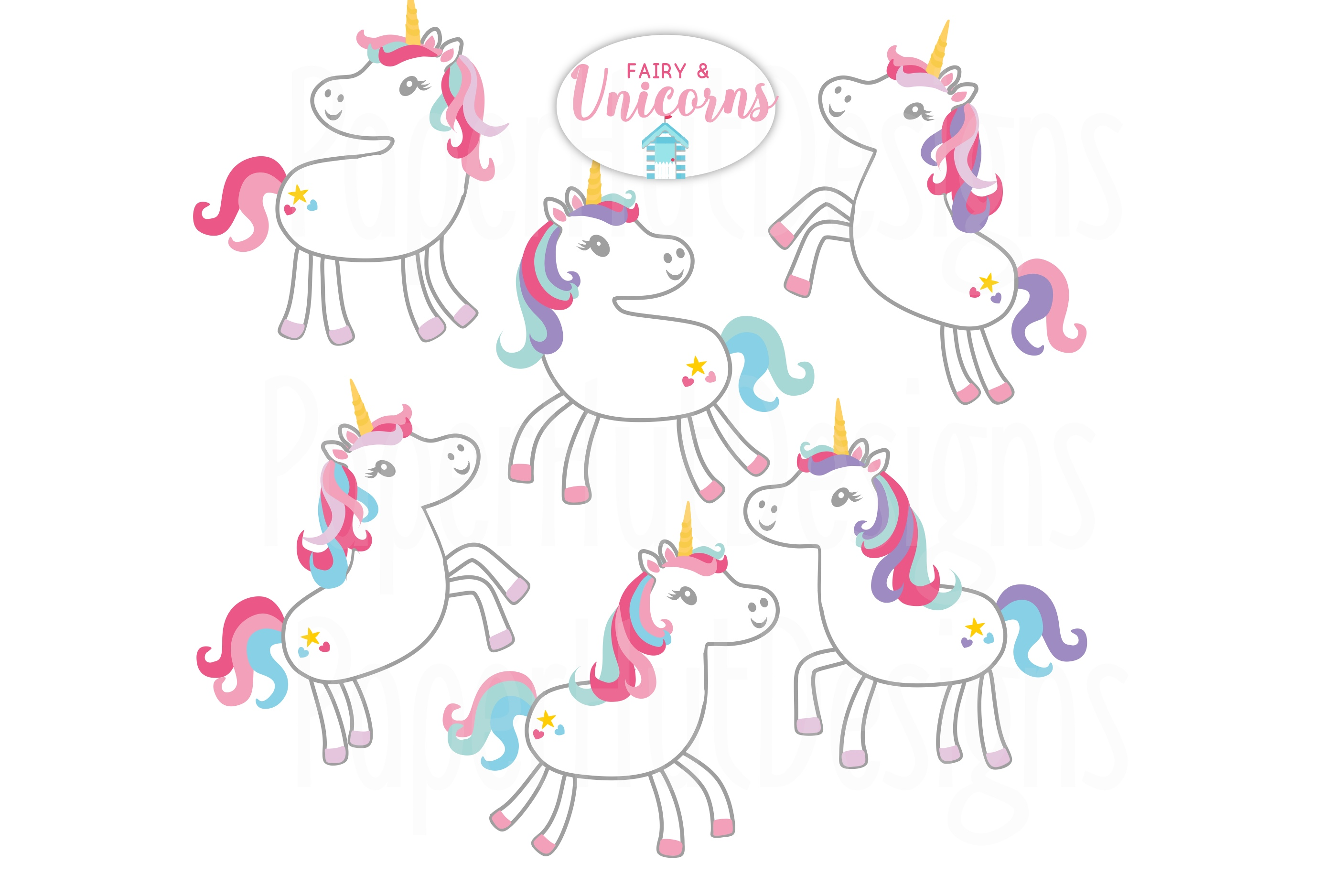Unicorns and Fairy Clipart example image 2