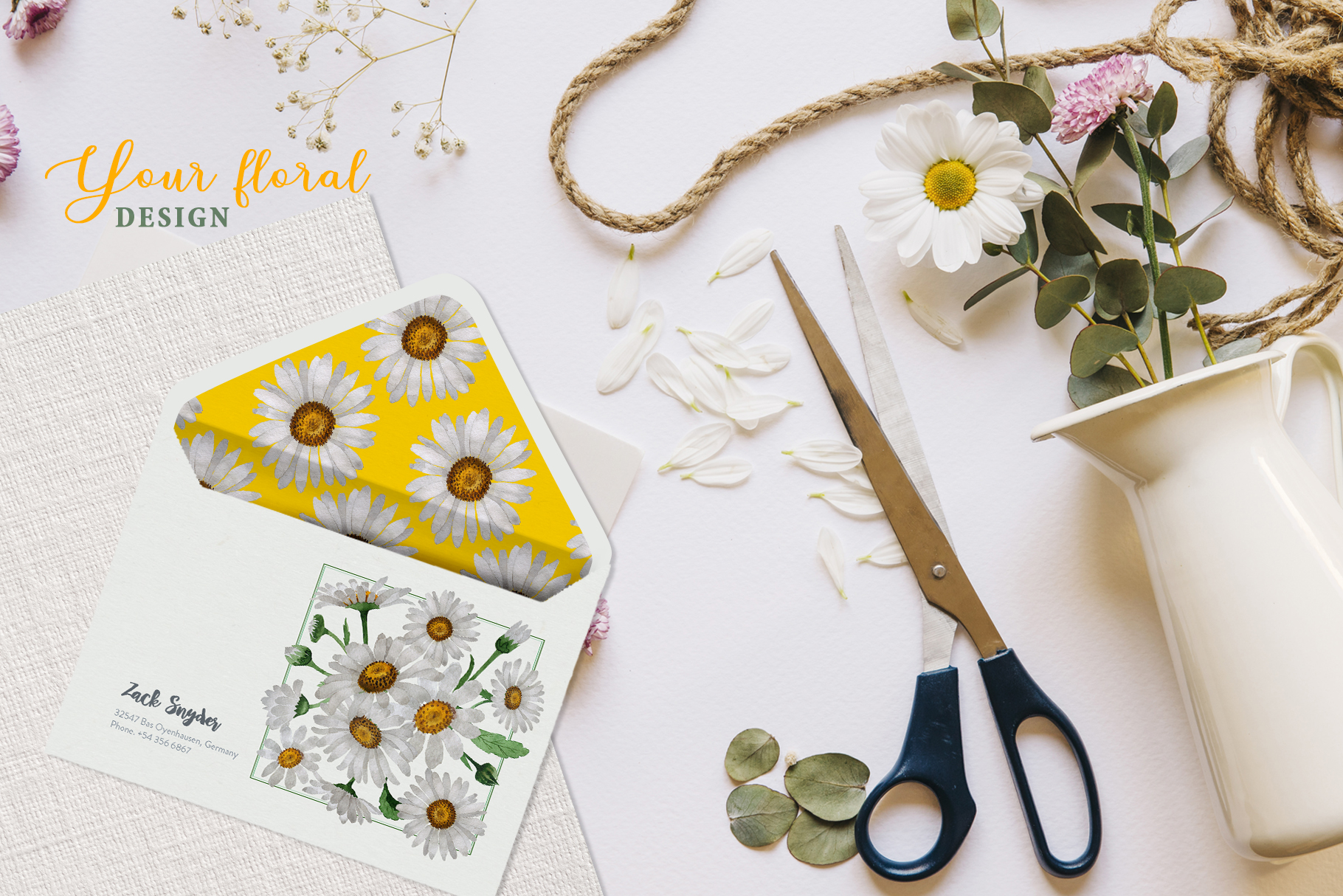 Chamomile white Watercolor png example image 6