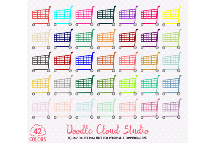 Colorful Shopping Cart Clipart Rainbow Shop Trolley  Grocery Store illustration PNG with Transparent Background Personal & Commercial Use example image 1