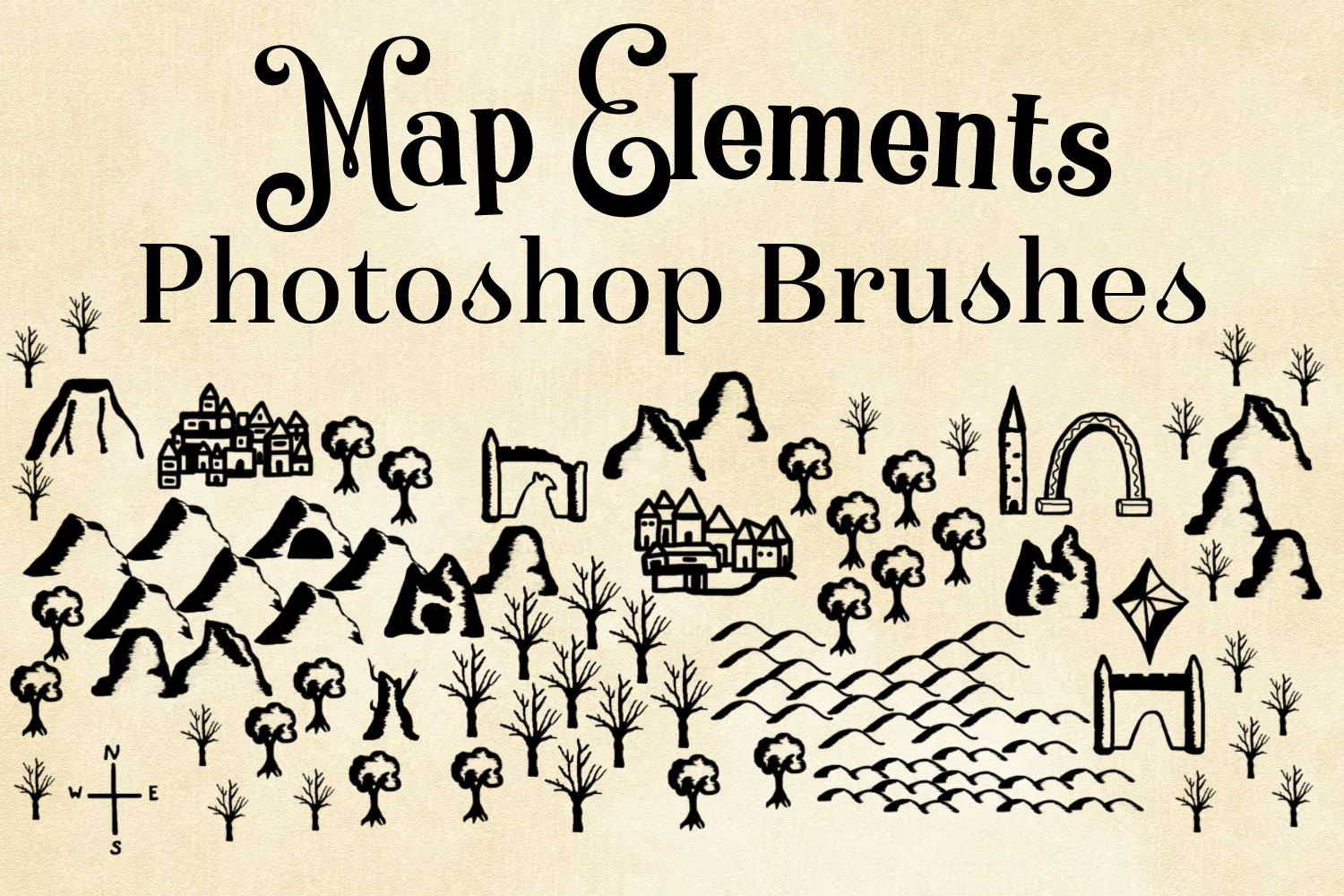 Map Elements Photoshop Brushes - Cartography Brushes example image 1