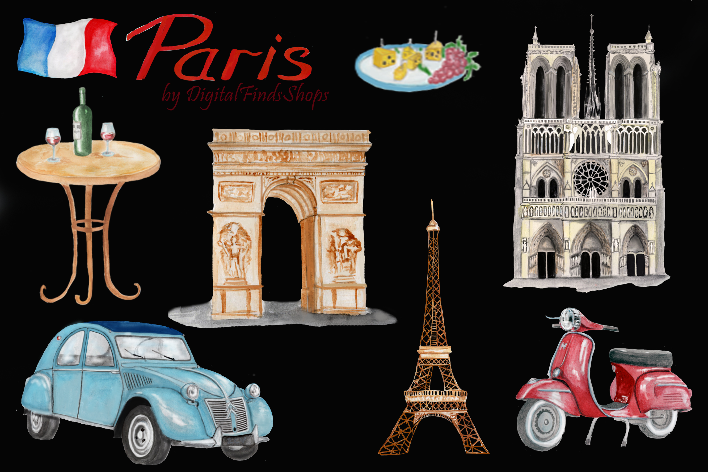 Paris clipart, Notre Dame, scooter clipart, eiffel tower example image 2