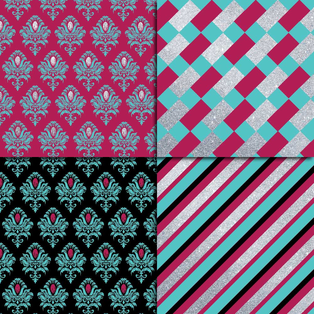 Fuchsia Teal & Silver Digital Paper example image 3