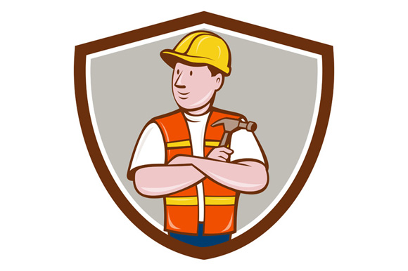 Builder Carpenter Folded Arms Hammer Crest Cartoon example image 1