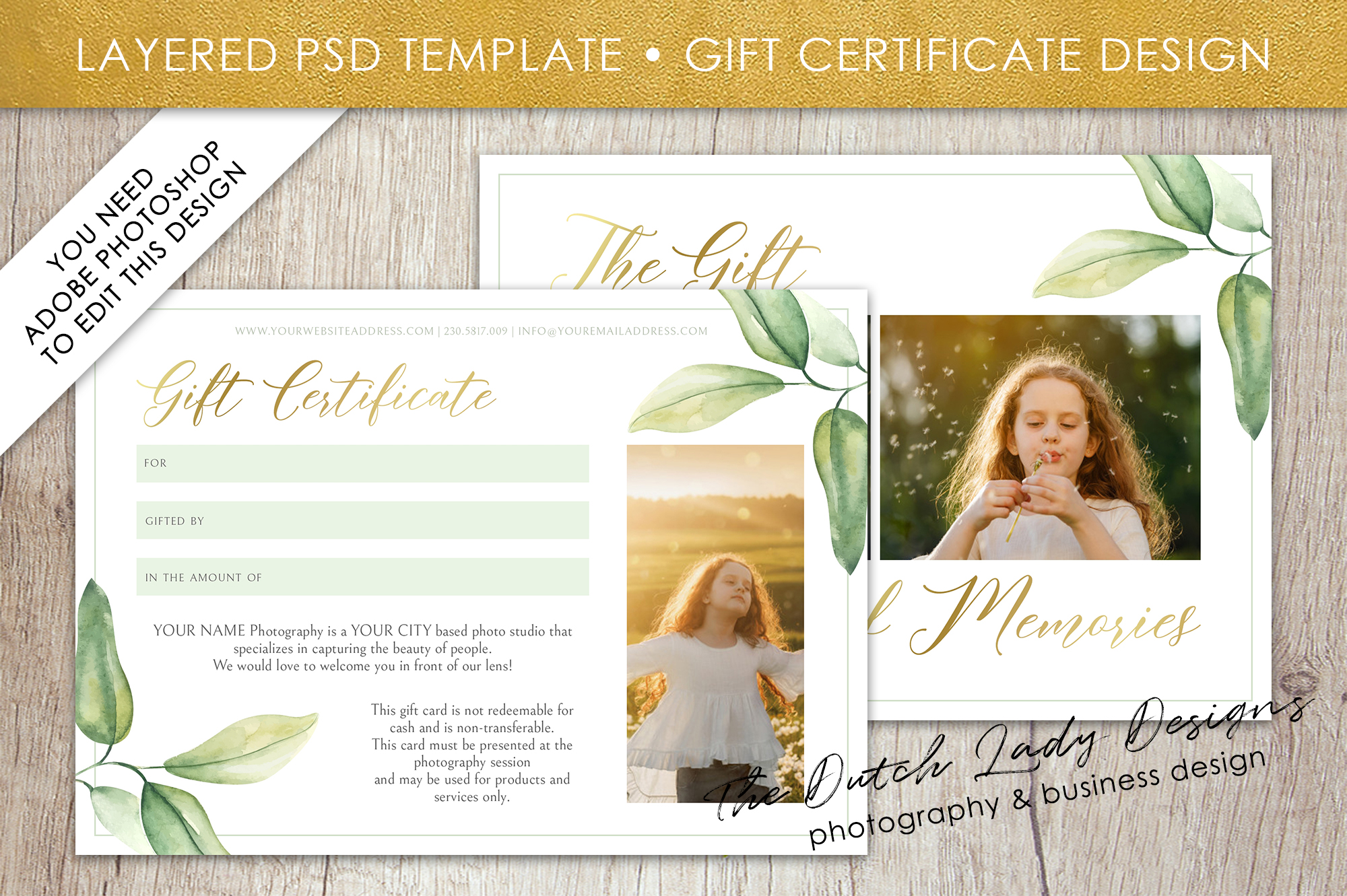 Photo Gift Card Template for Adobe Photoshop - #53 example image 2