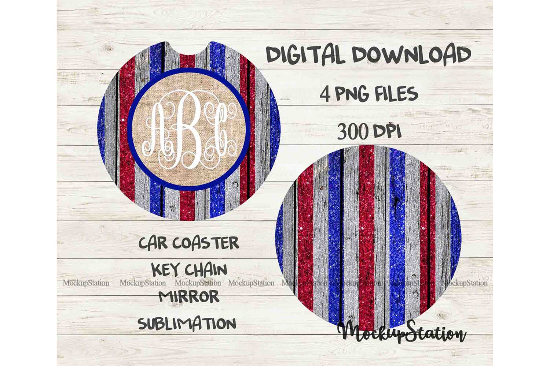 Usa Flag Monogram Wooden Car Coaster Sublimation Template