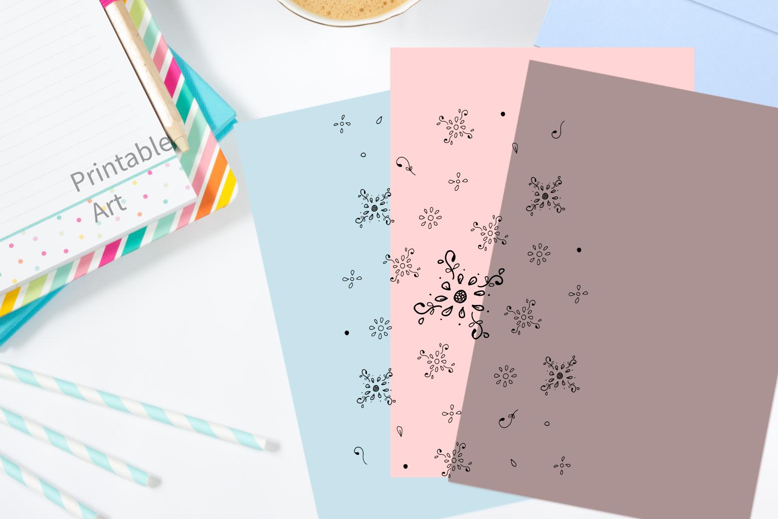 Floral Doodle Ink Pattern, A1, SVG example image 5