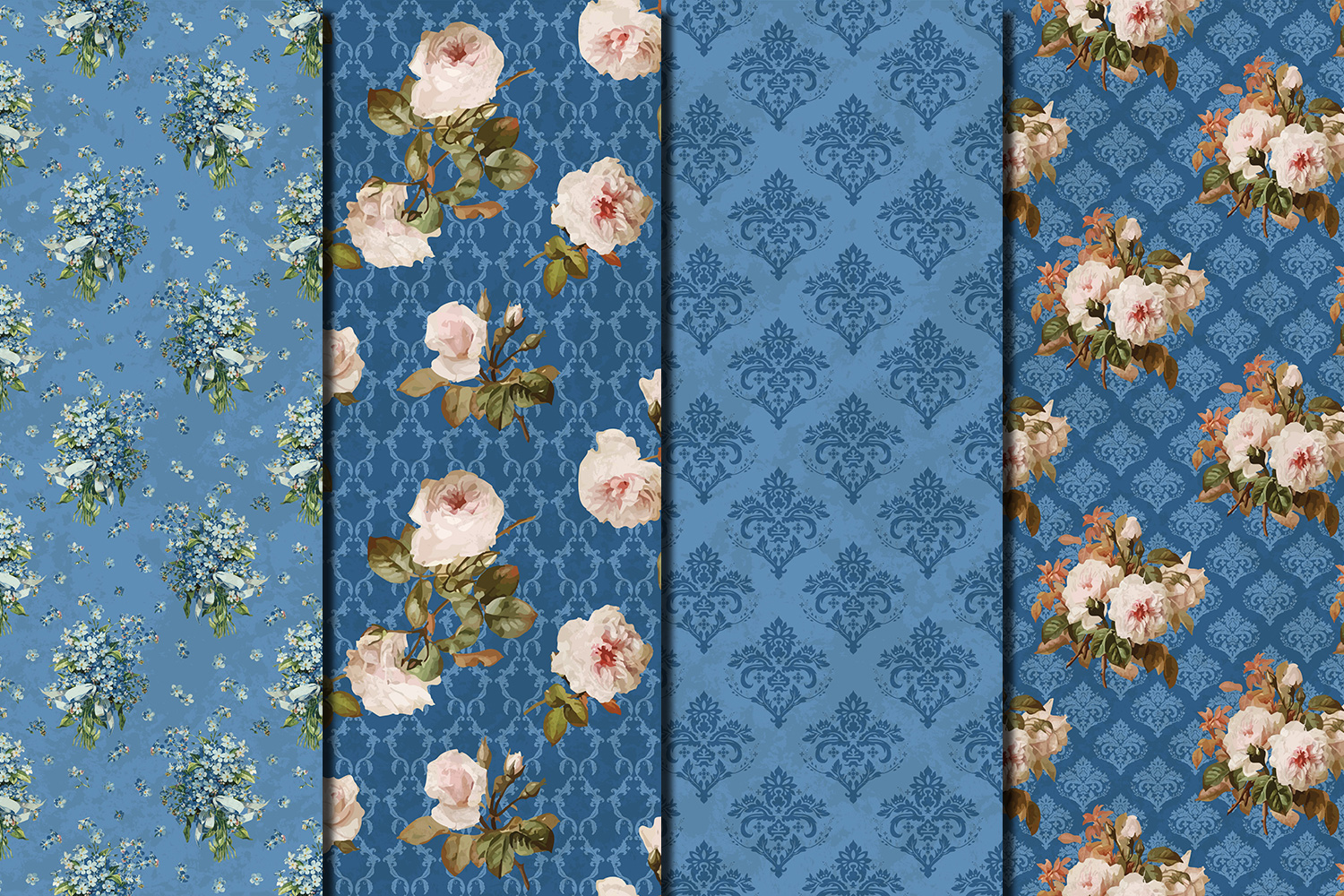 Shabby chic roses seamless patterns example image 2