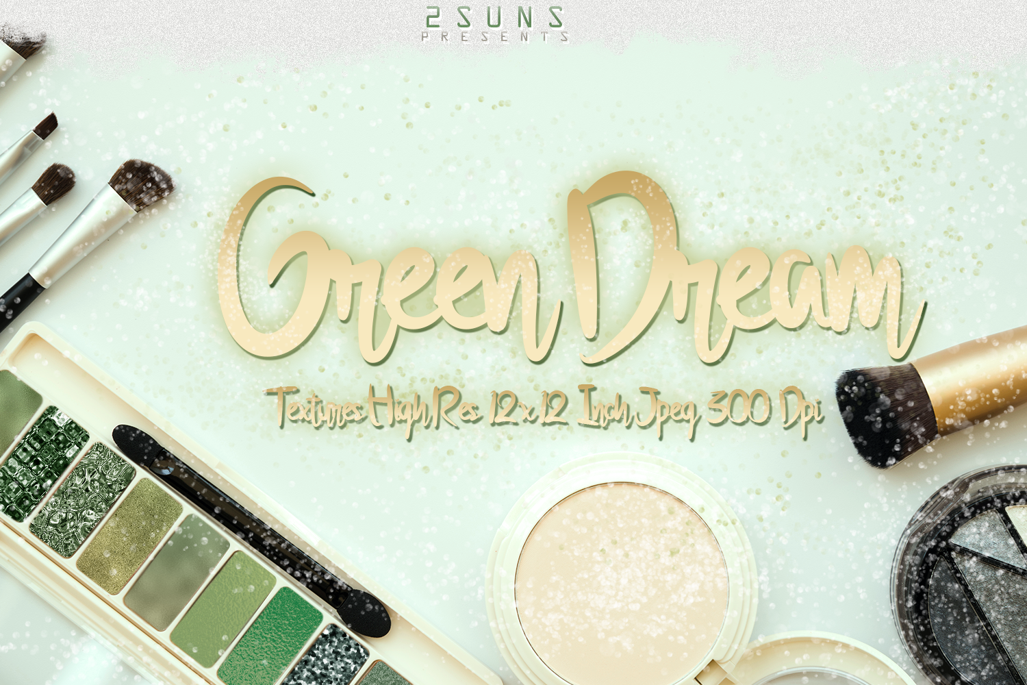 Green Dream digital papers textures, background, invitation example image 5