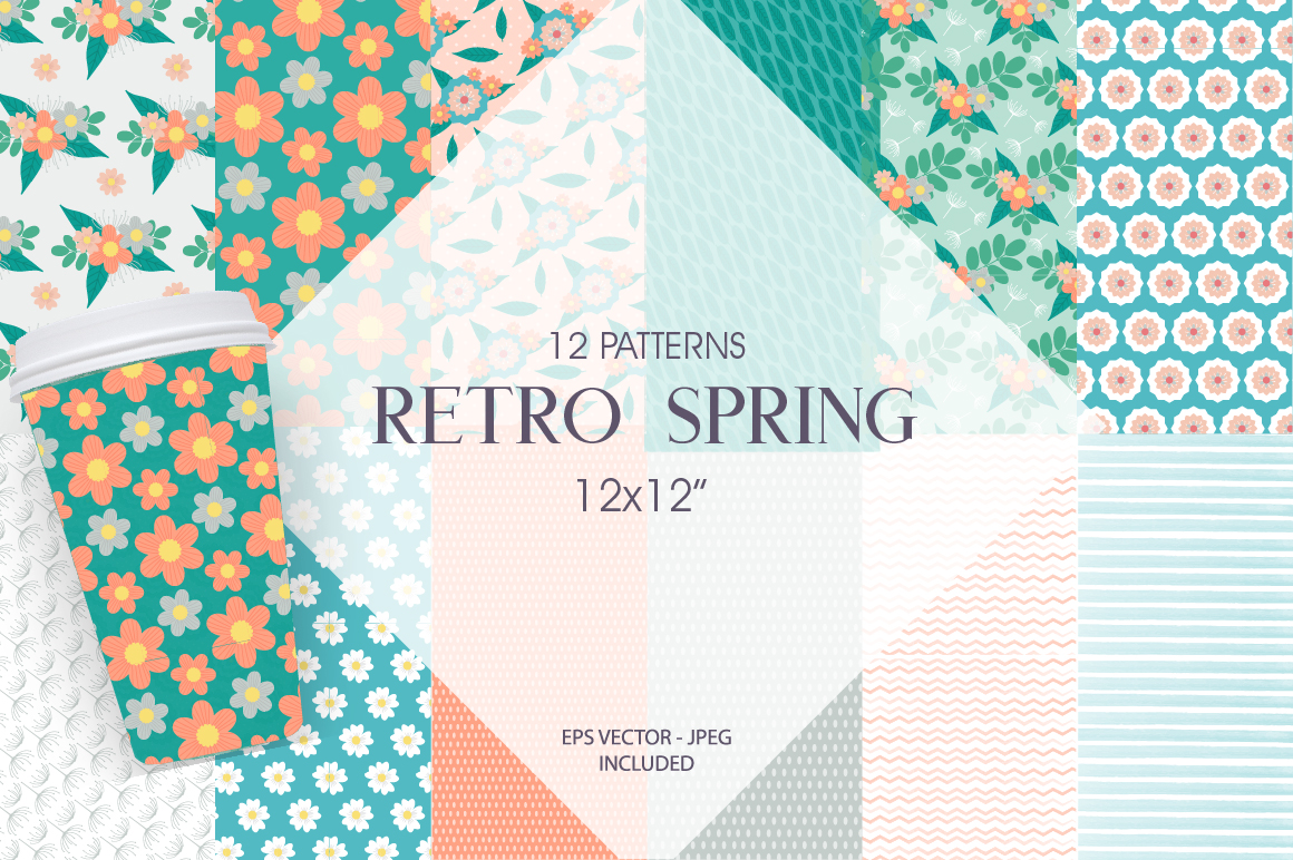 Retro Spring Pattern collection, vector ai, eps and jp example image 1