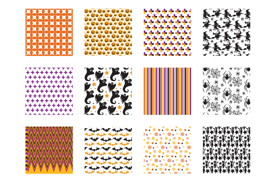 Halloween Fun Pattern collection, vector ai, eps and example image 2