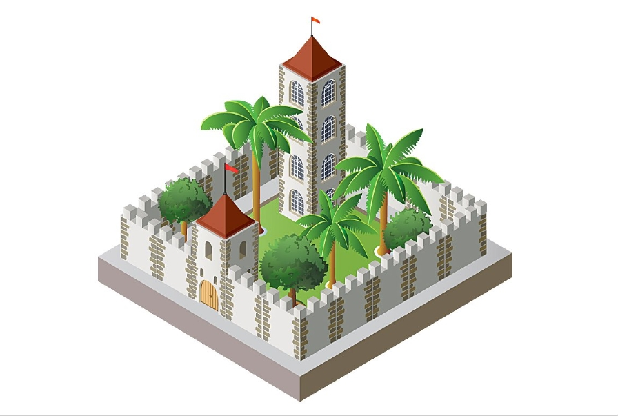 Isometric fort fortress example image 1