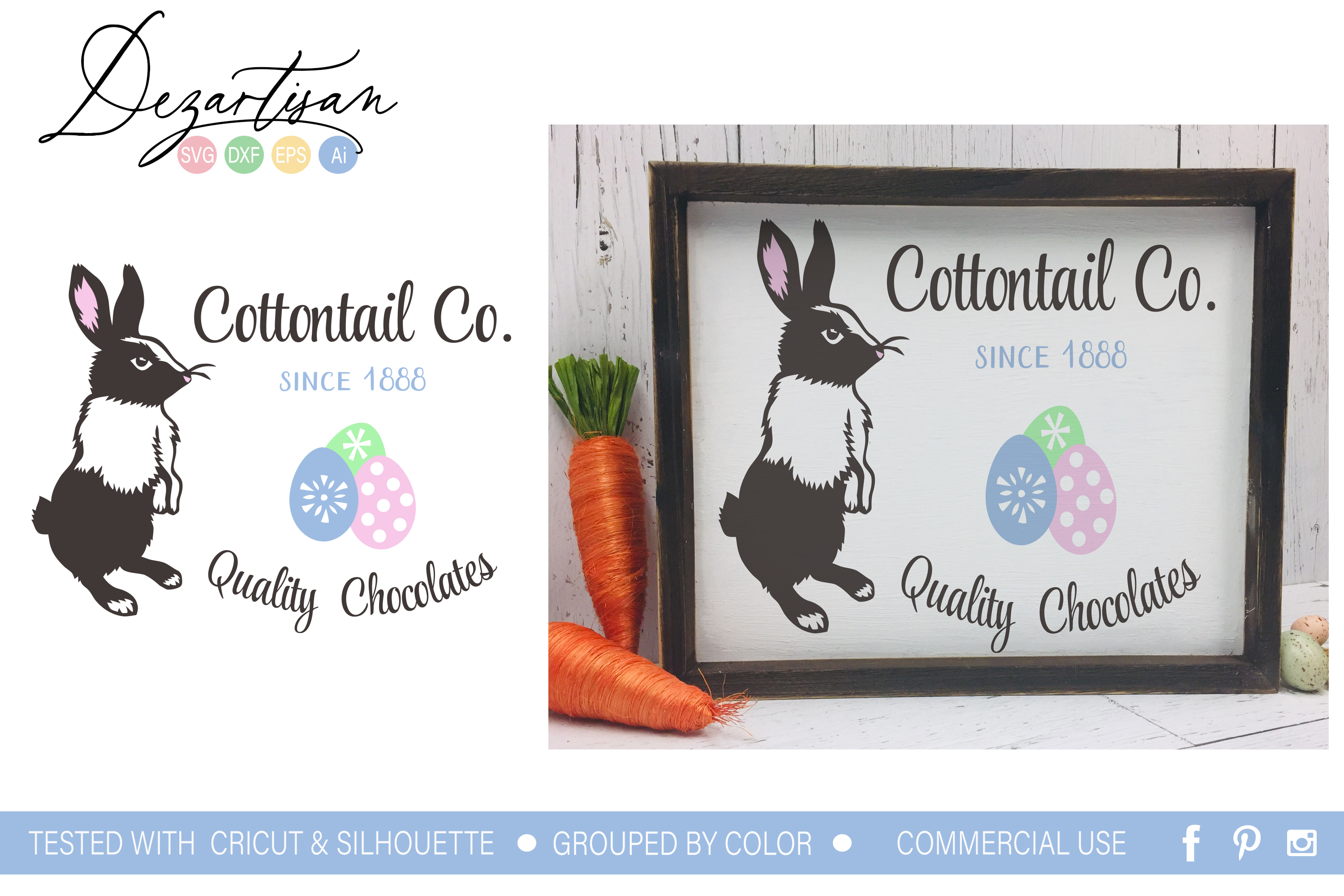 Cottontail Co Quality Chocolates Easter Bunny SVG example image 1