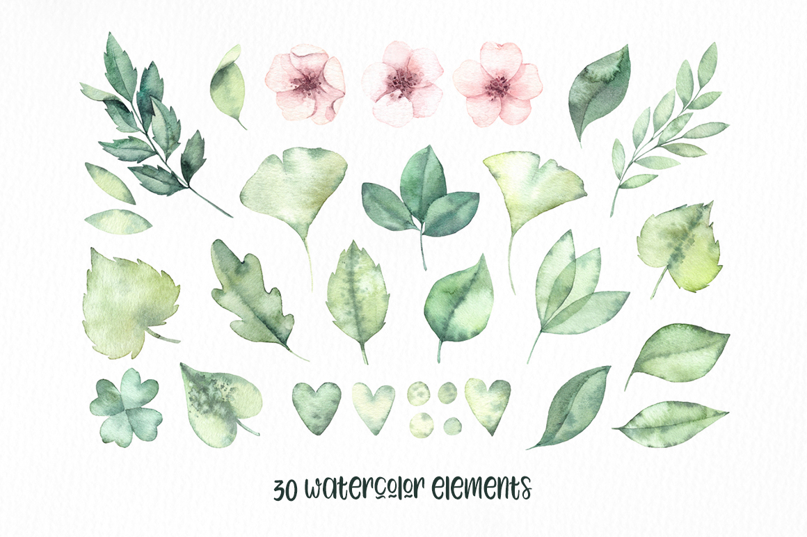 Spring leaves. Watercolor set example image 4