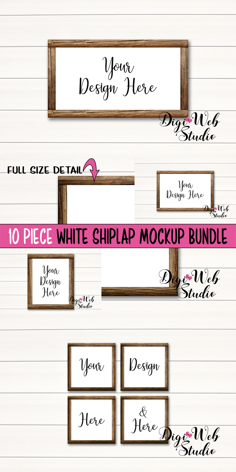 Wood Signs Mockup Bundle - 10 Wood Frames on White Shiplap example image 12
