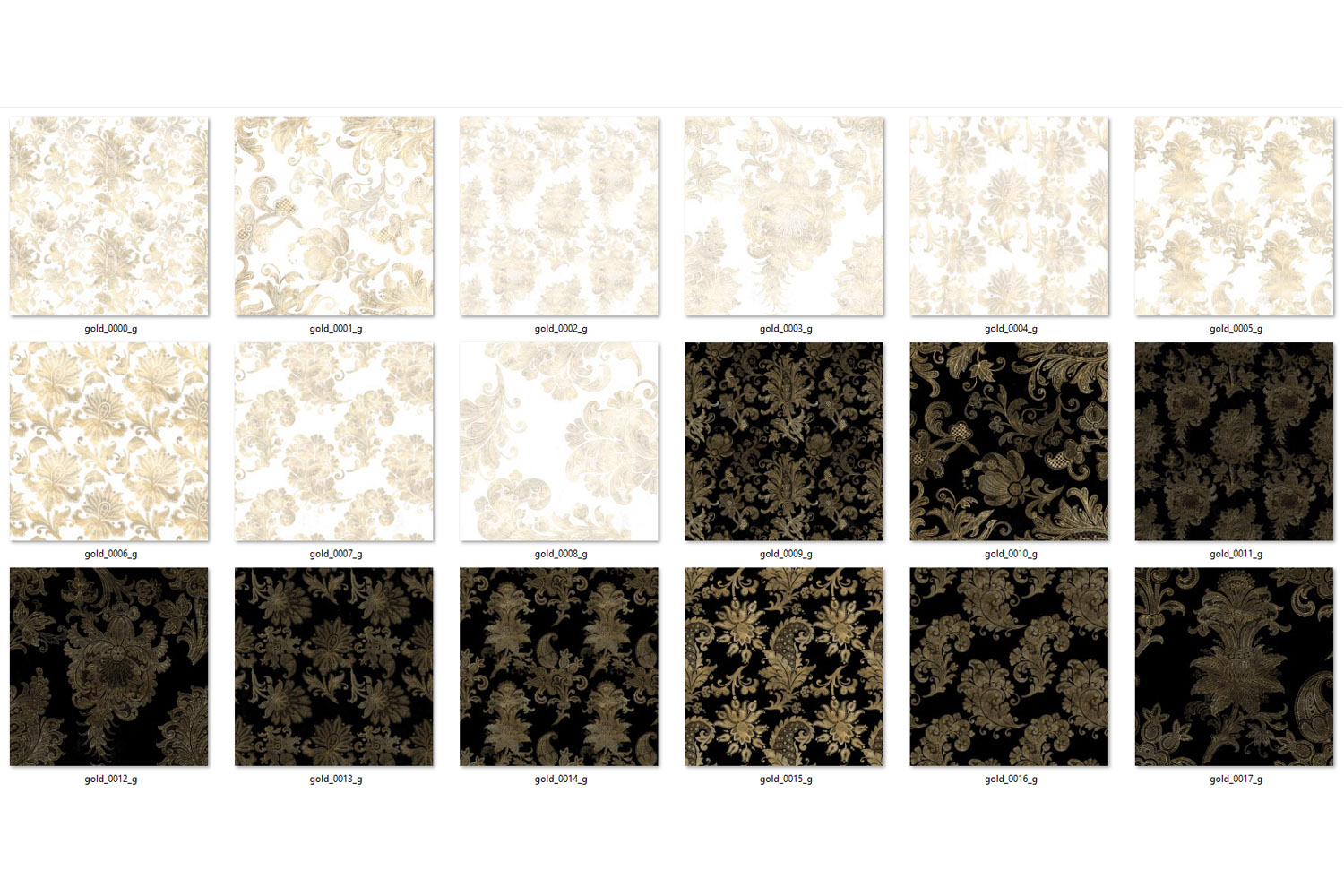 Black White and Gold Floral Digital Paper example image 4