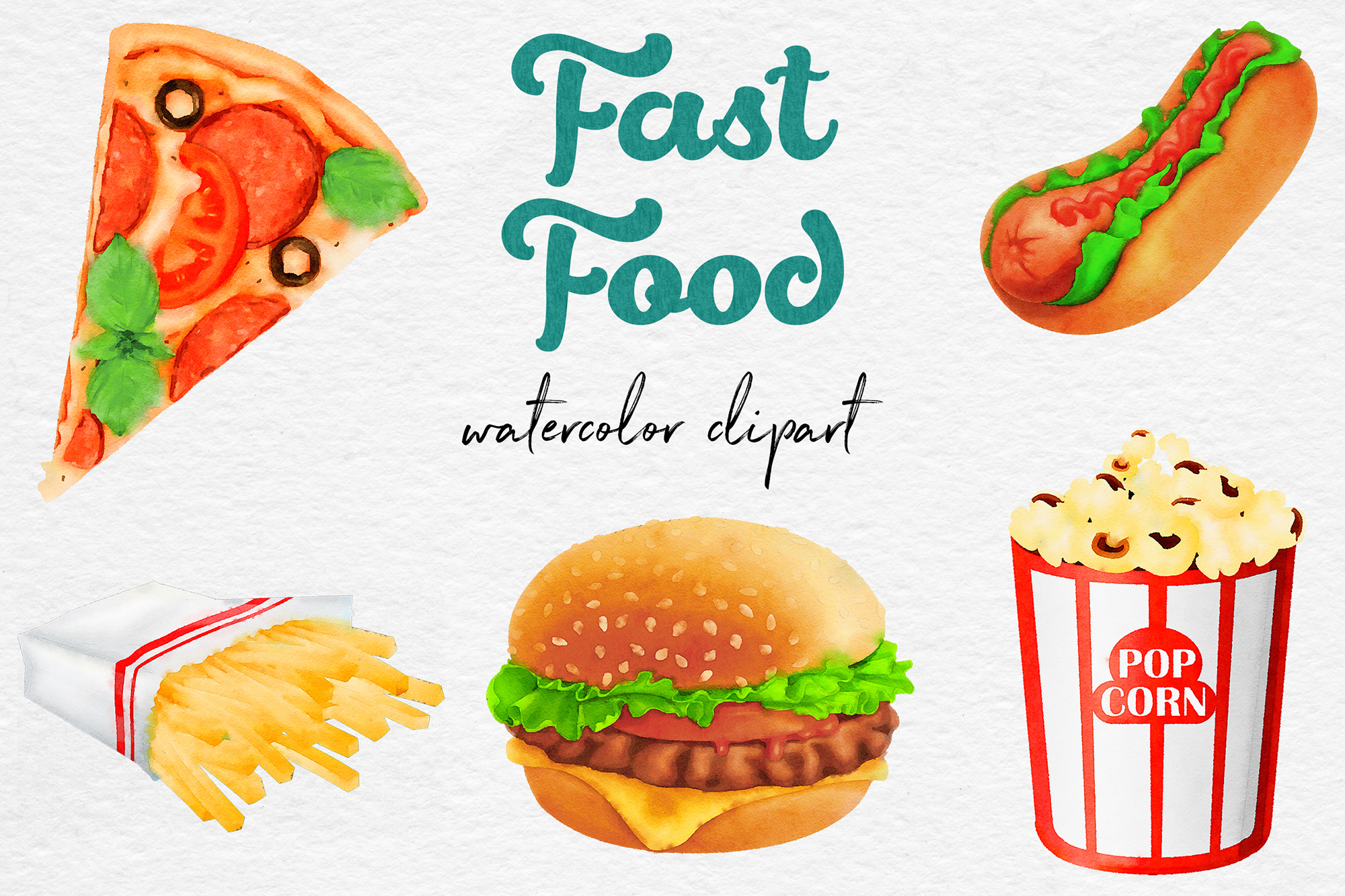Watercolor Fast Food Clipart example image 1