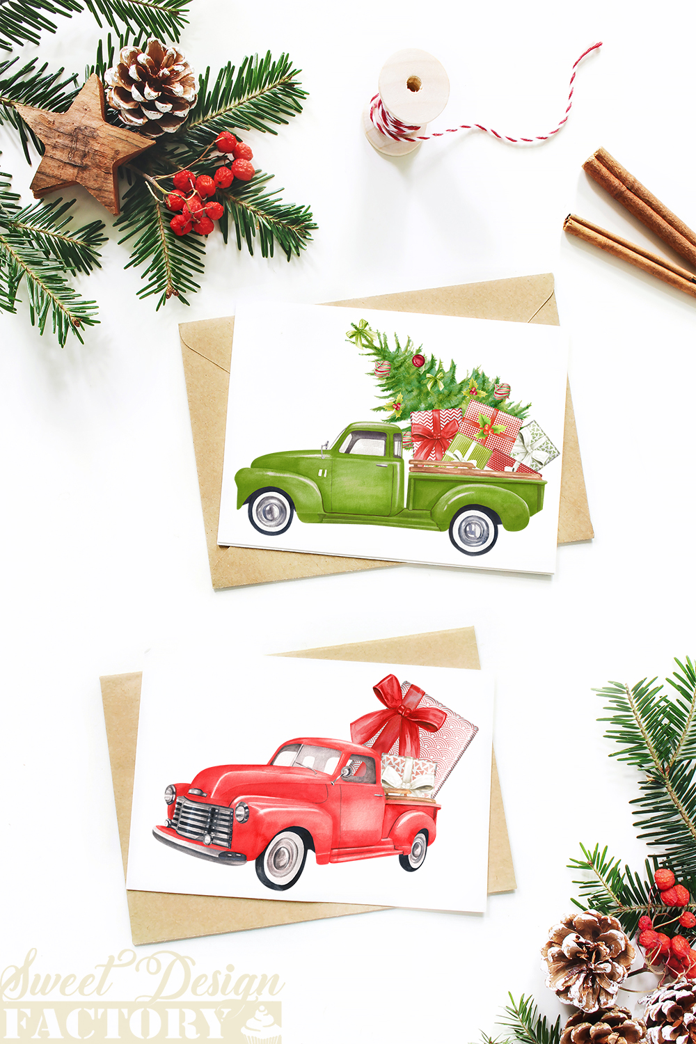 Watercolor Christmas retro truck clipart example image 7