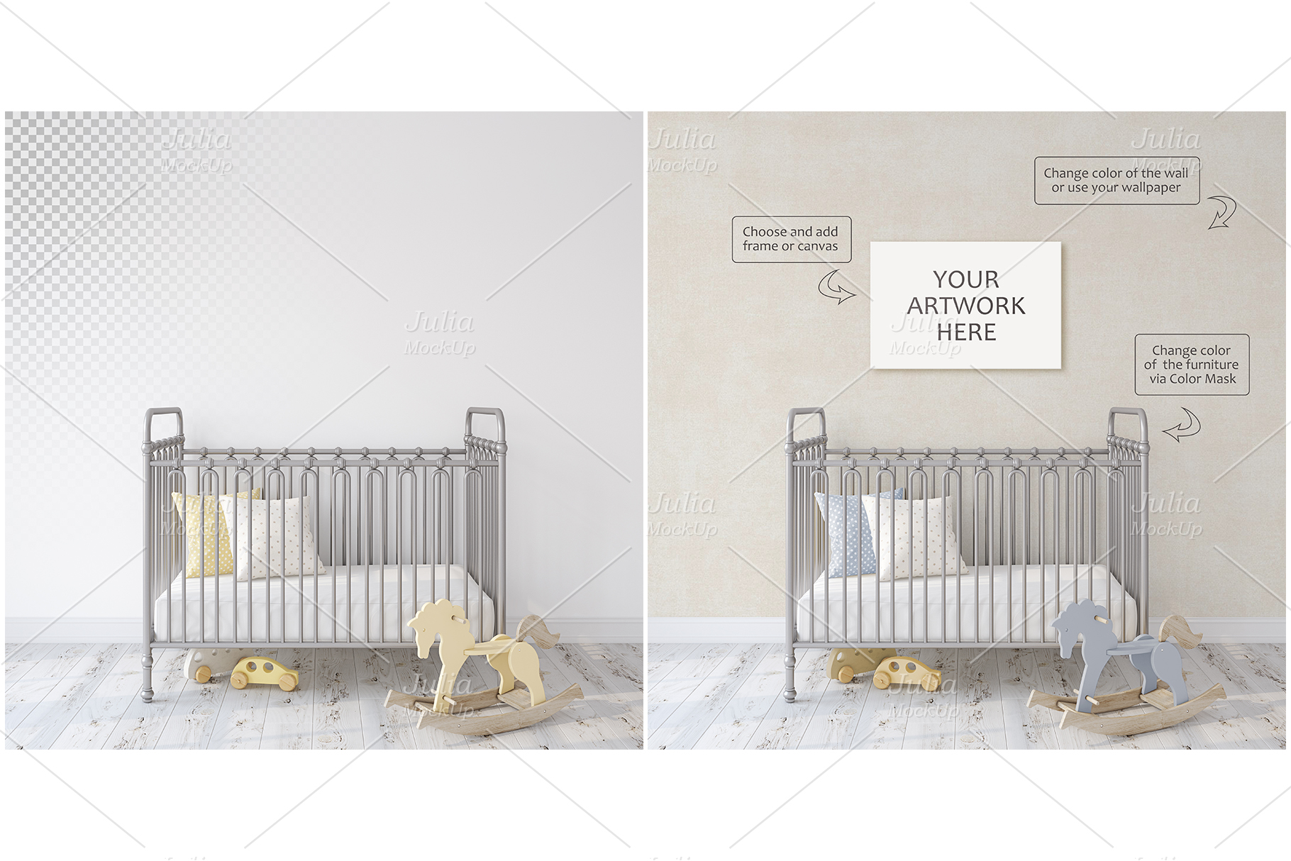 Metal crib. Wall&Frames Mockup. example image 2