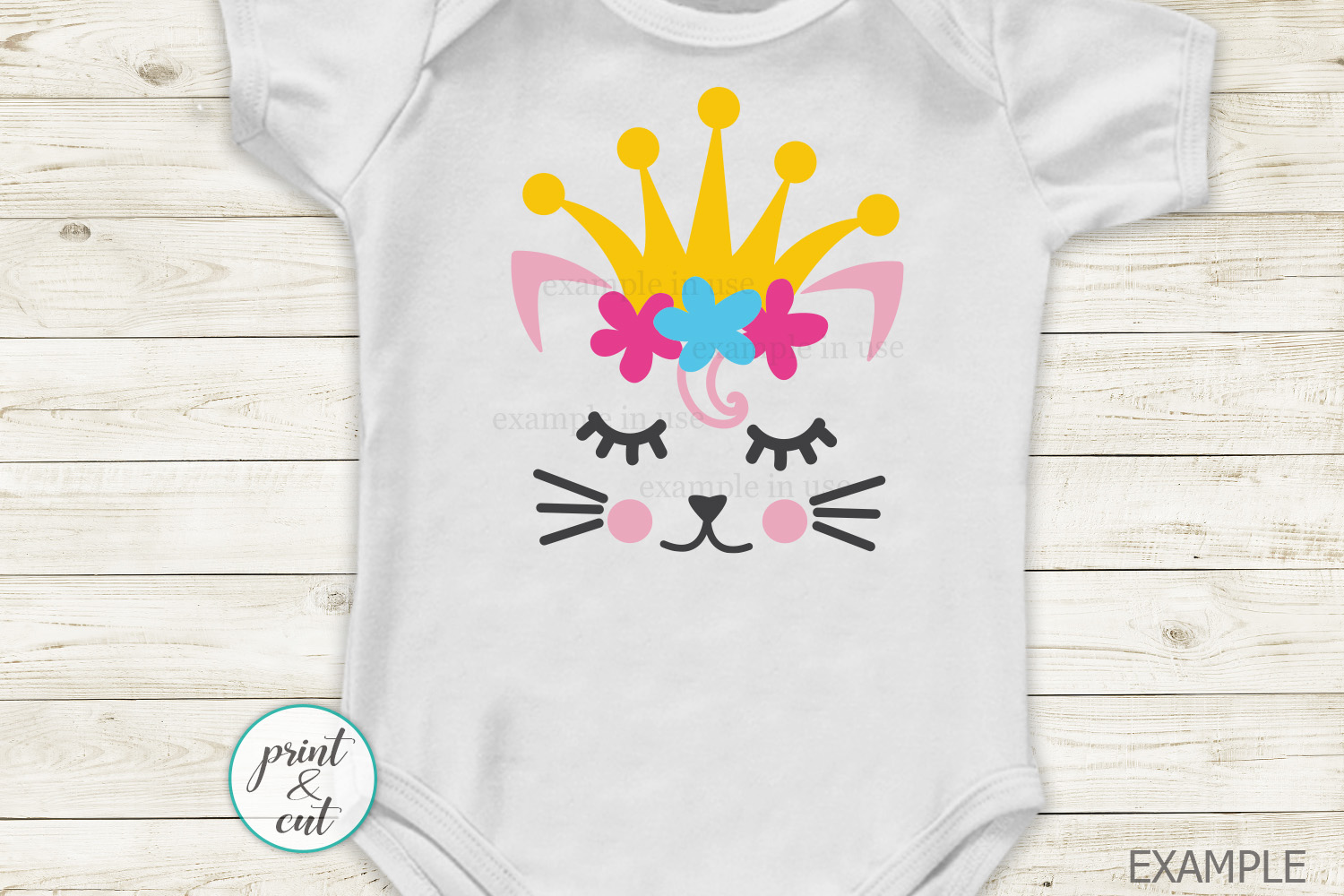 Cat Kitty face bundle with flowers hearts unicorn crown svg example image 6