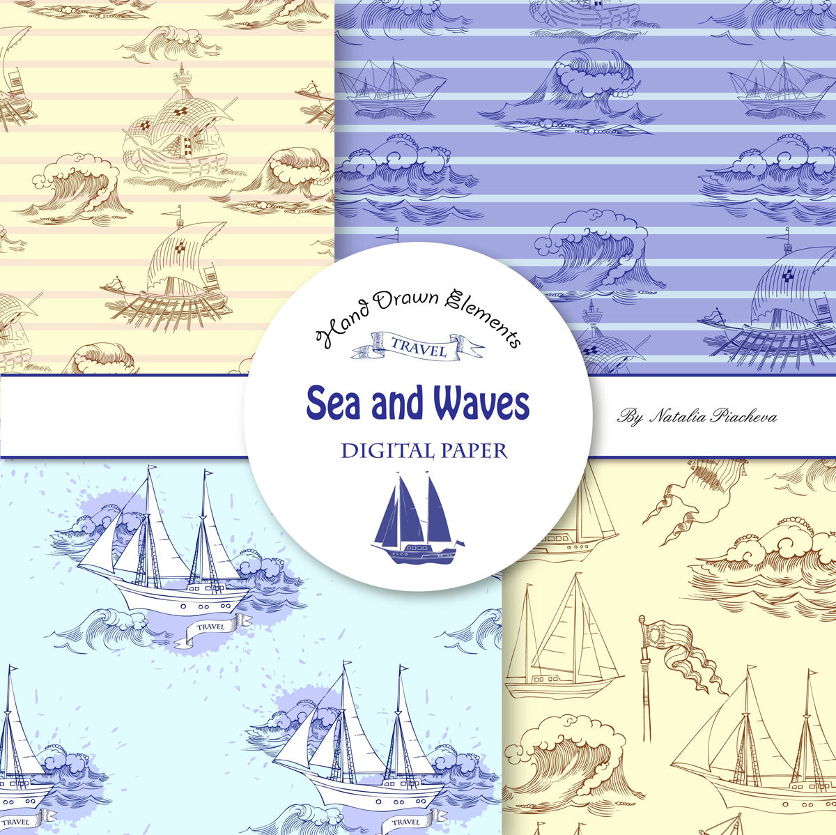 Sea and Waves.Digital Paper example image 2