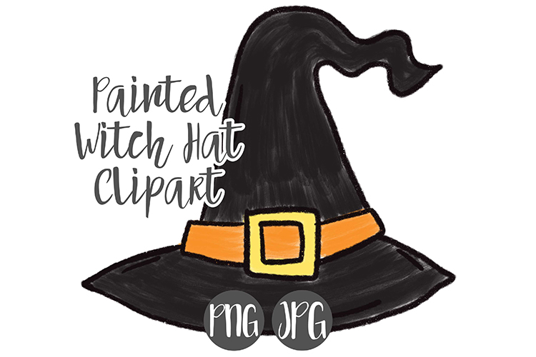 Hand Drawn Halloween Witch Hat Clipart example image 1
