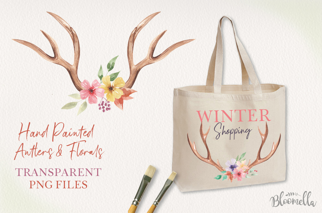 Antlers Floral 7 Bouquets Watercolor Elegant Stag Flowers example image 3
