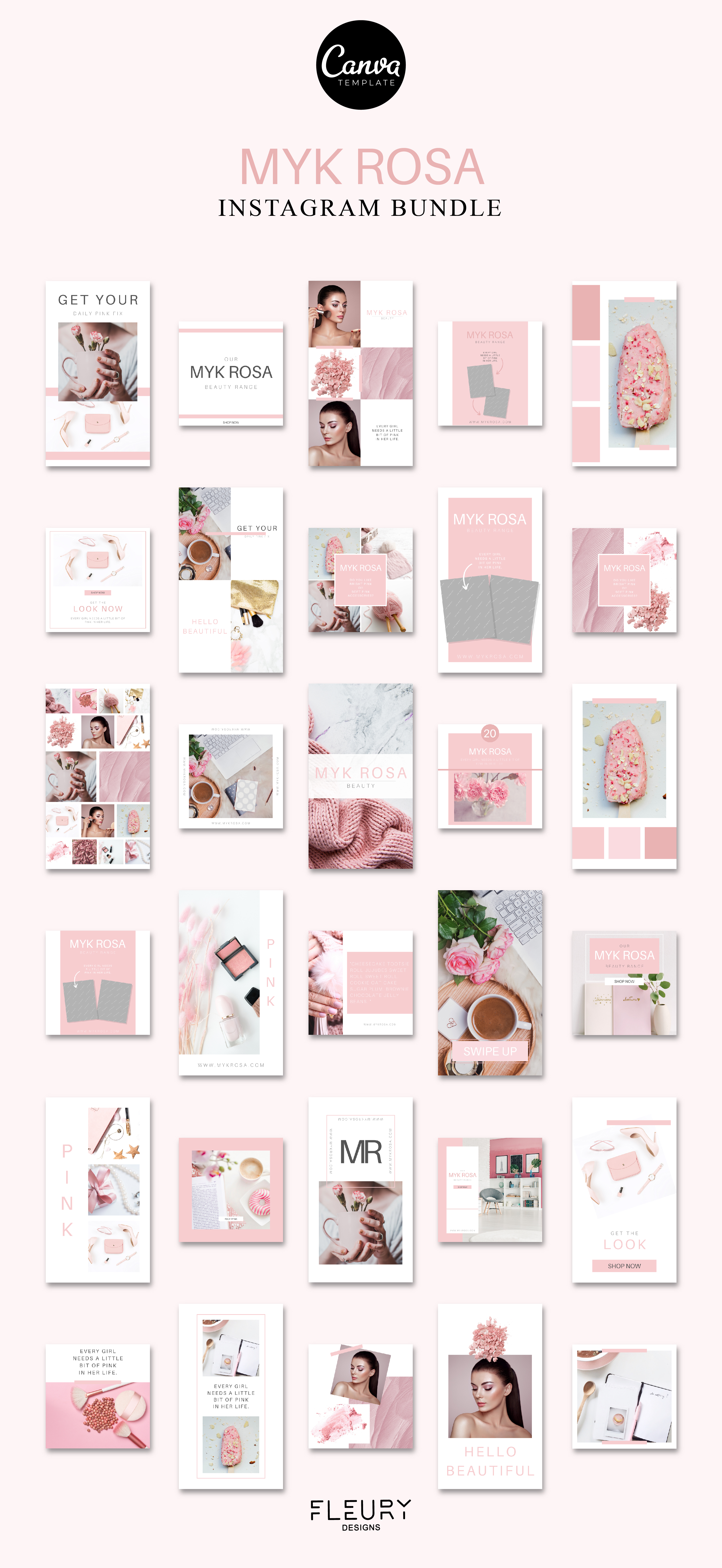 60 Instagram Post & Story Templates For Canva - Myk Rosa example image 4