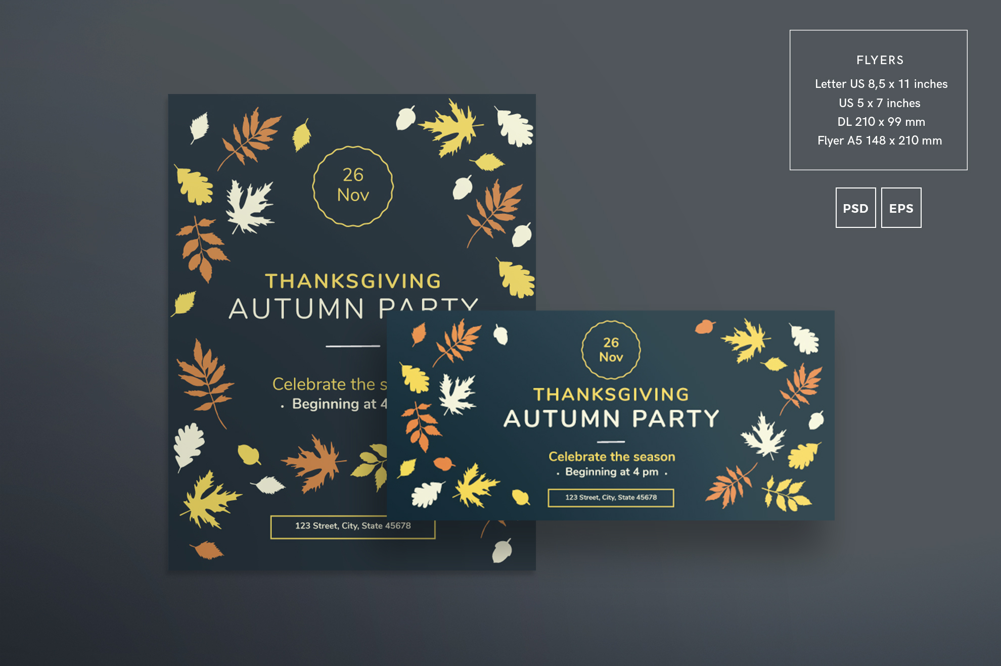 Thanksgiving Autumn Party Design Templates Bundle example image 2