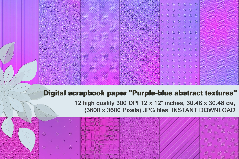 Purple-blue abstract textures, Digital Scrapbook Paper example image 1