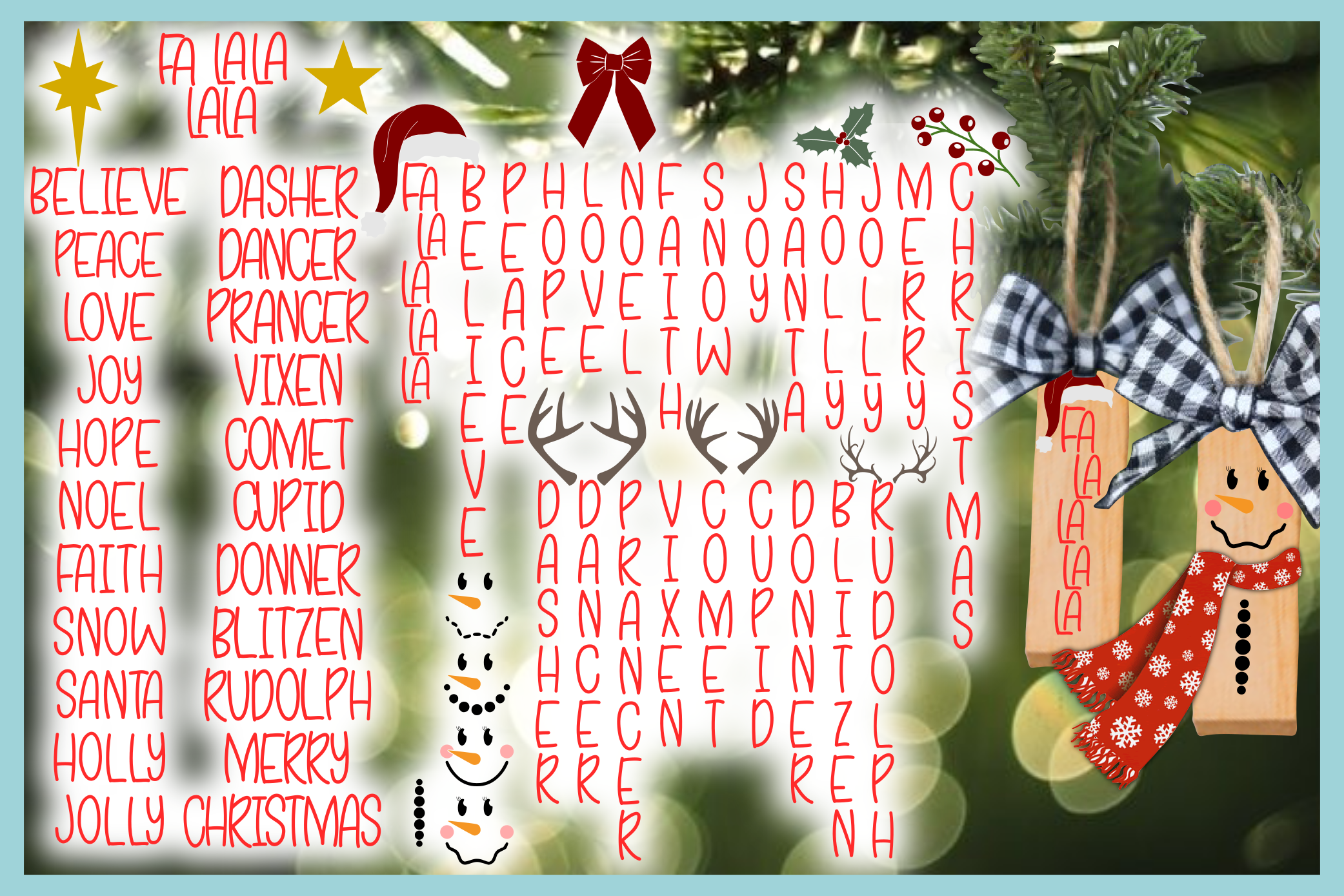 Hand Lettered Skinny Font Words with Christmas Elements SVG example image 3