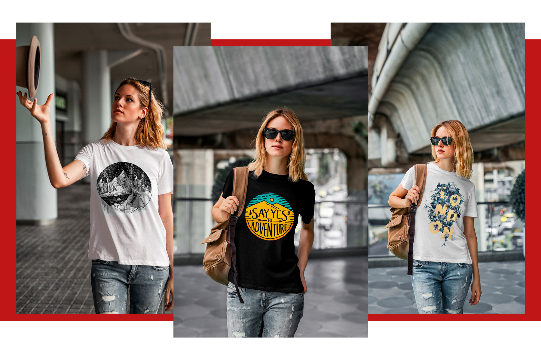 T-Shirt Mock-Up's Casual Girl example image 5