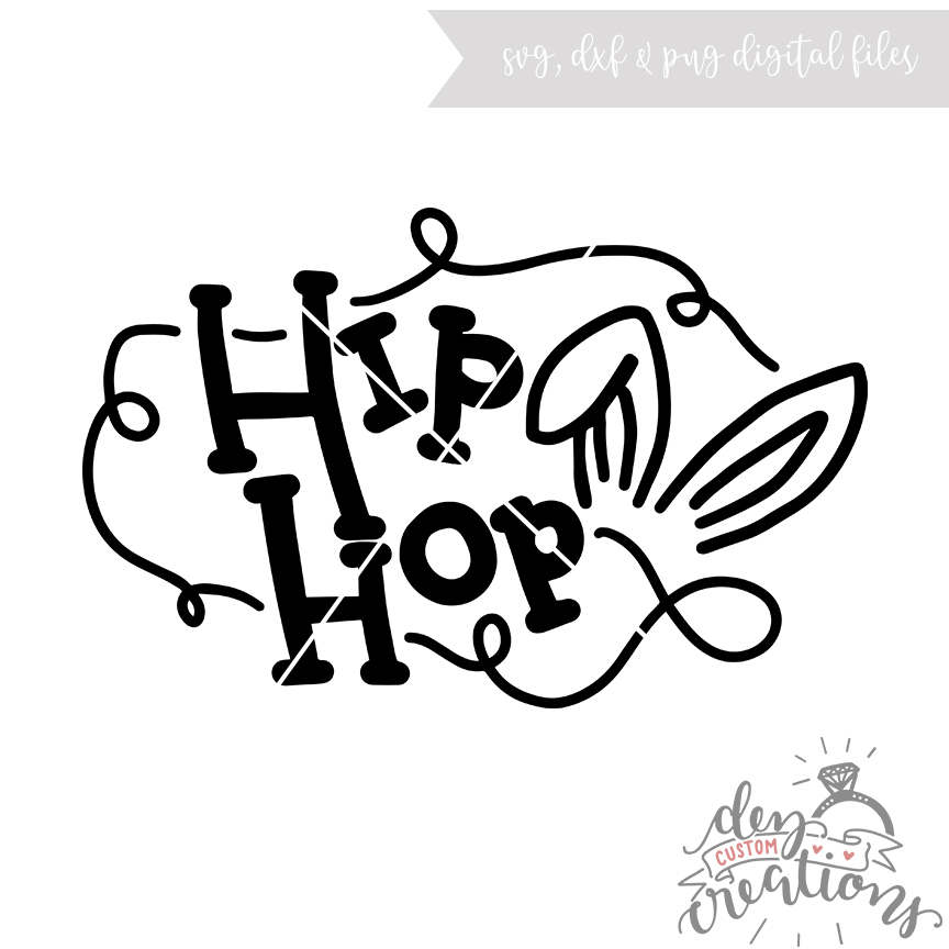 Hip Hop bunny hand lettered file - (SVG DXF PNG) example image 1