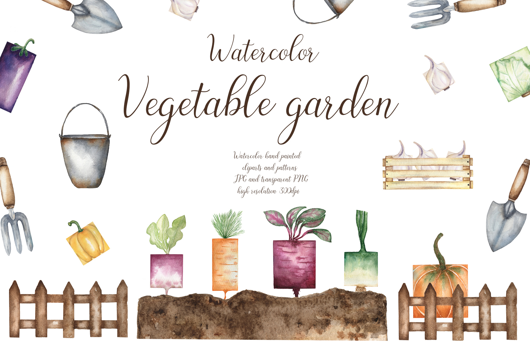Watercolor vegetable garden example image 1