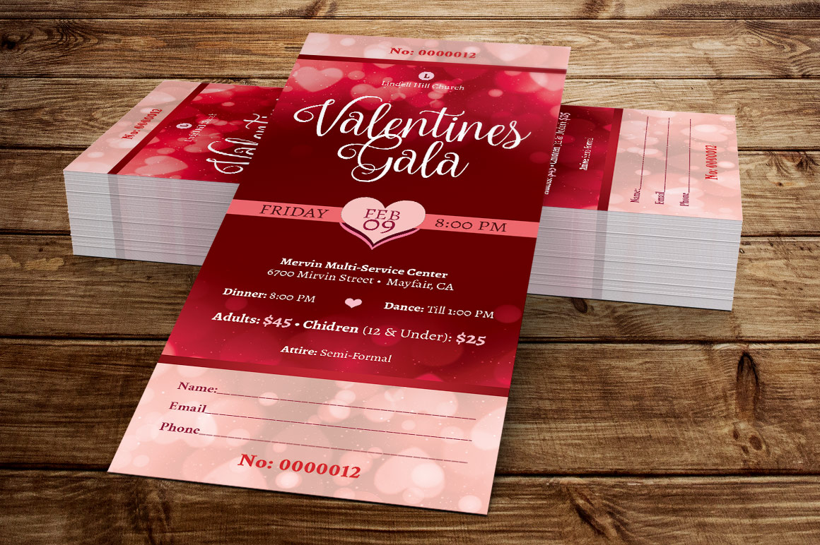 Red Hearts Valentines Gala Ticket Template example image 2