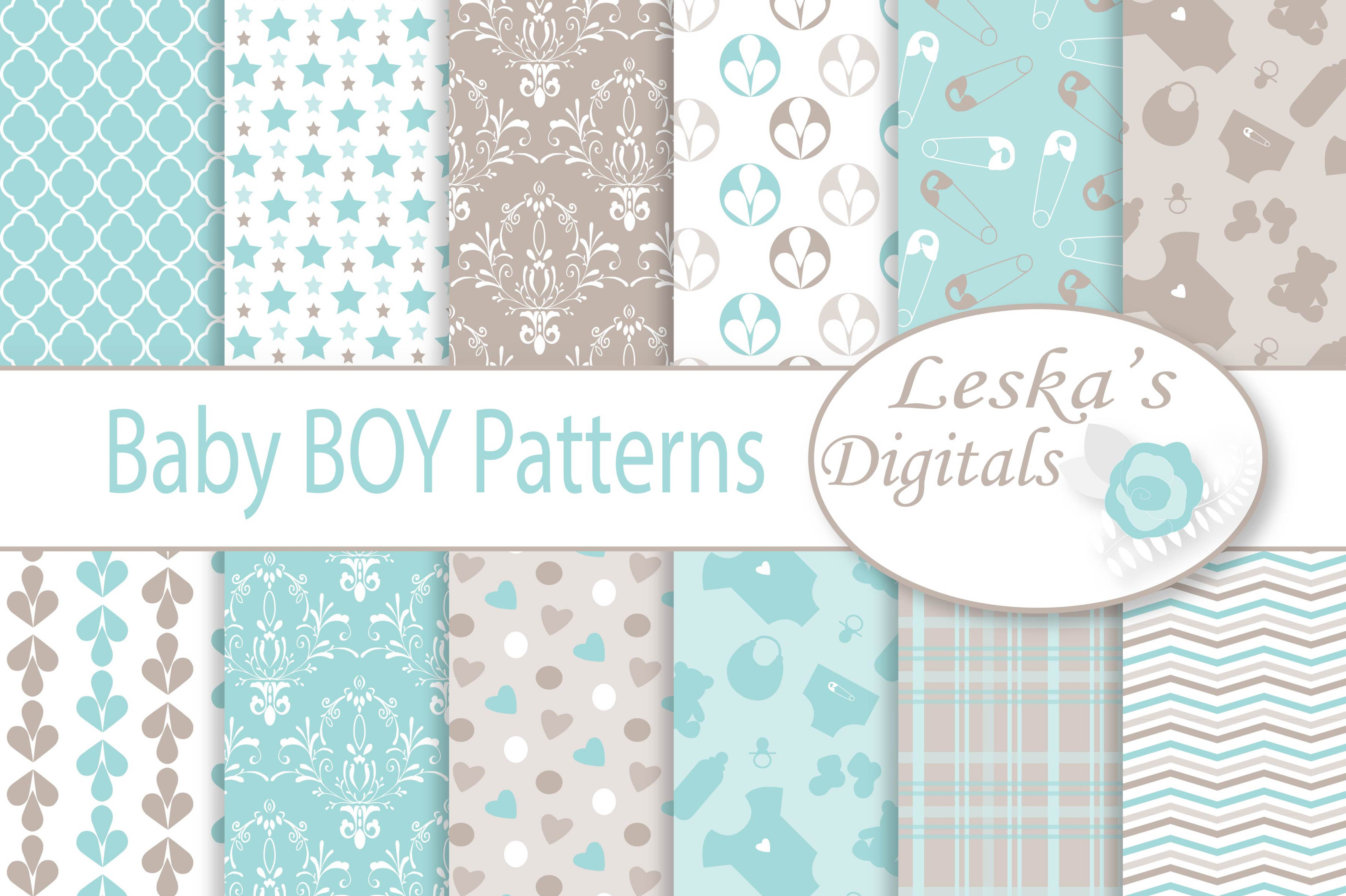 Baby Boy Digital Paper Patterns example image 1