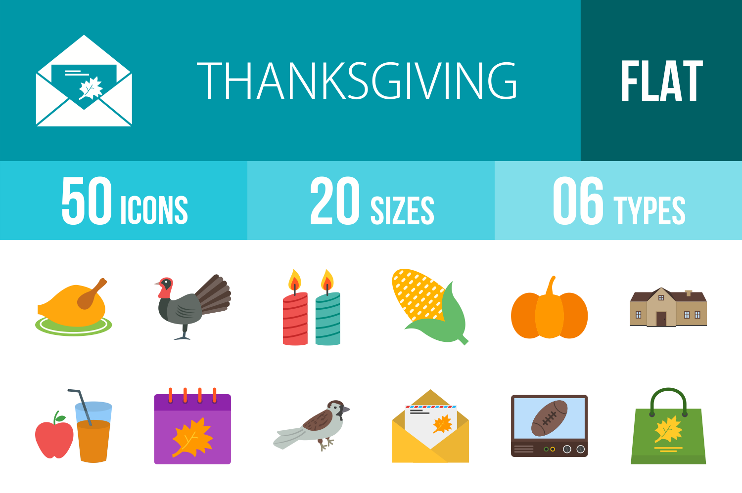 50 Thanksgiving Flat Multicoolor Icons example image 1