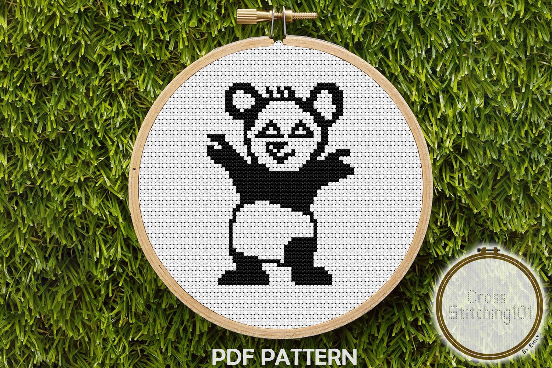 Black and White Cartoon Panda Cross Stitch Pattern PDF example image 1