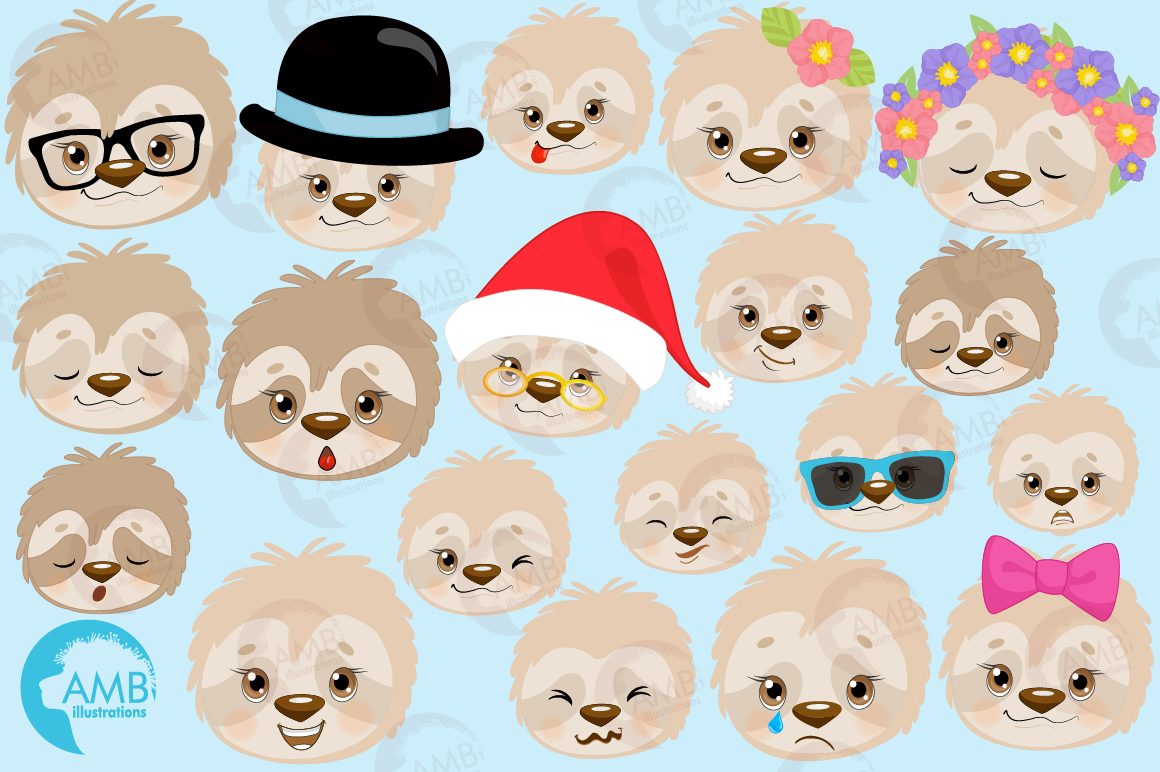 Sleepy Sloths clipart, Emoji sloth, sloth faces graphics, illustrations AMB-2203 example image 4