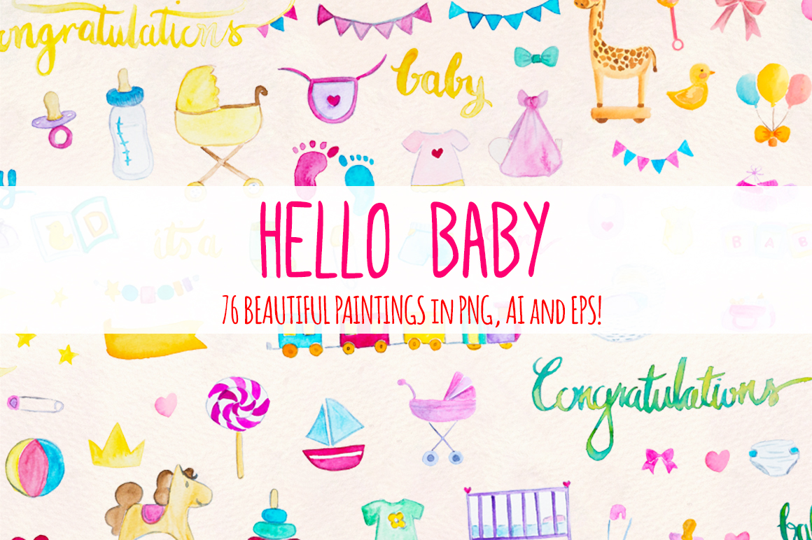 Hello Baby 76 New Baby Watercolor Elements example image 1