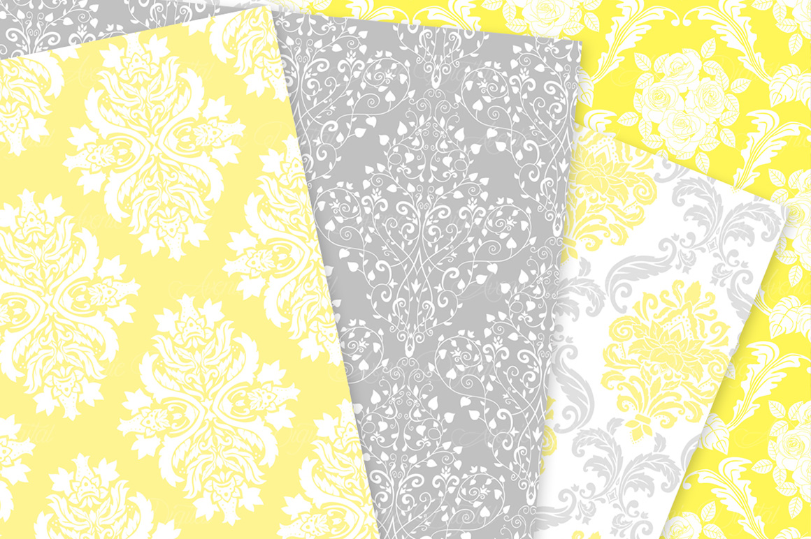 28 Yellow and Gray Damask Patterns - Seamless Digital Papers Bundle example image 9
