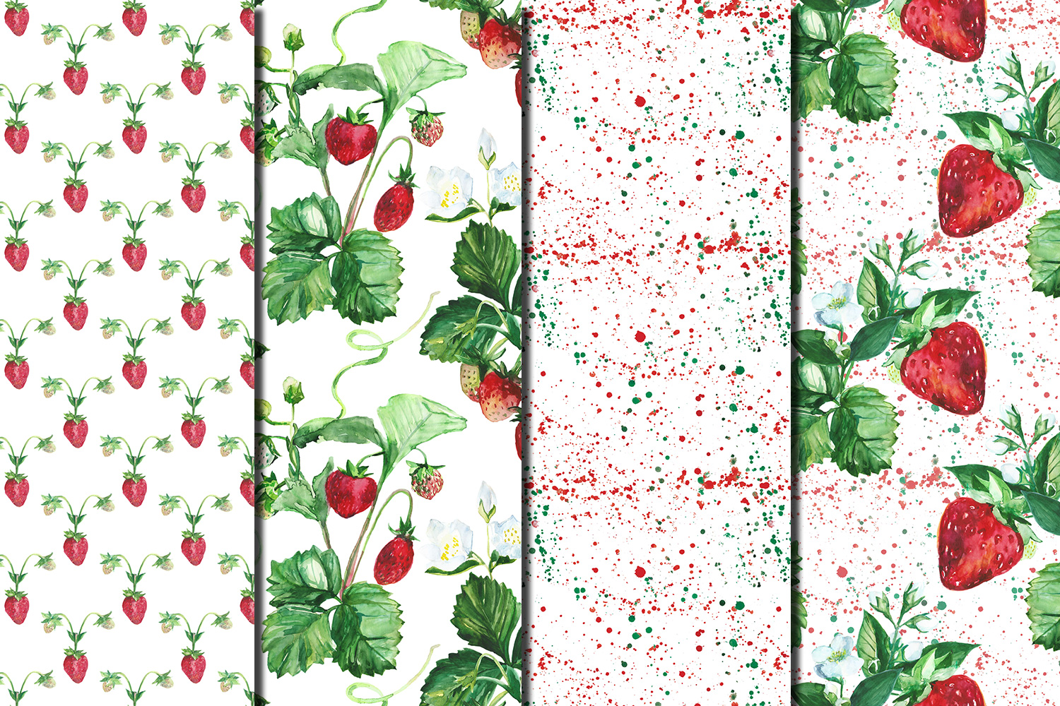 Watercolor Strawberry seamless digital paper pack example image 2