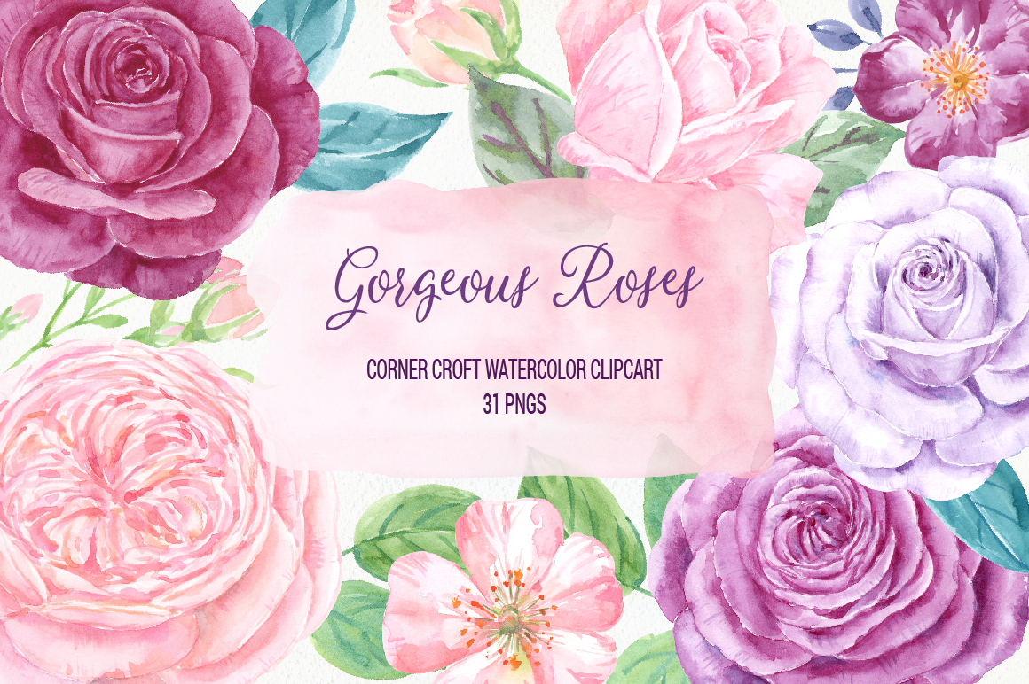 Watercolor Clip Art Gorgeous Roses example image 3