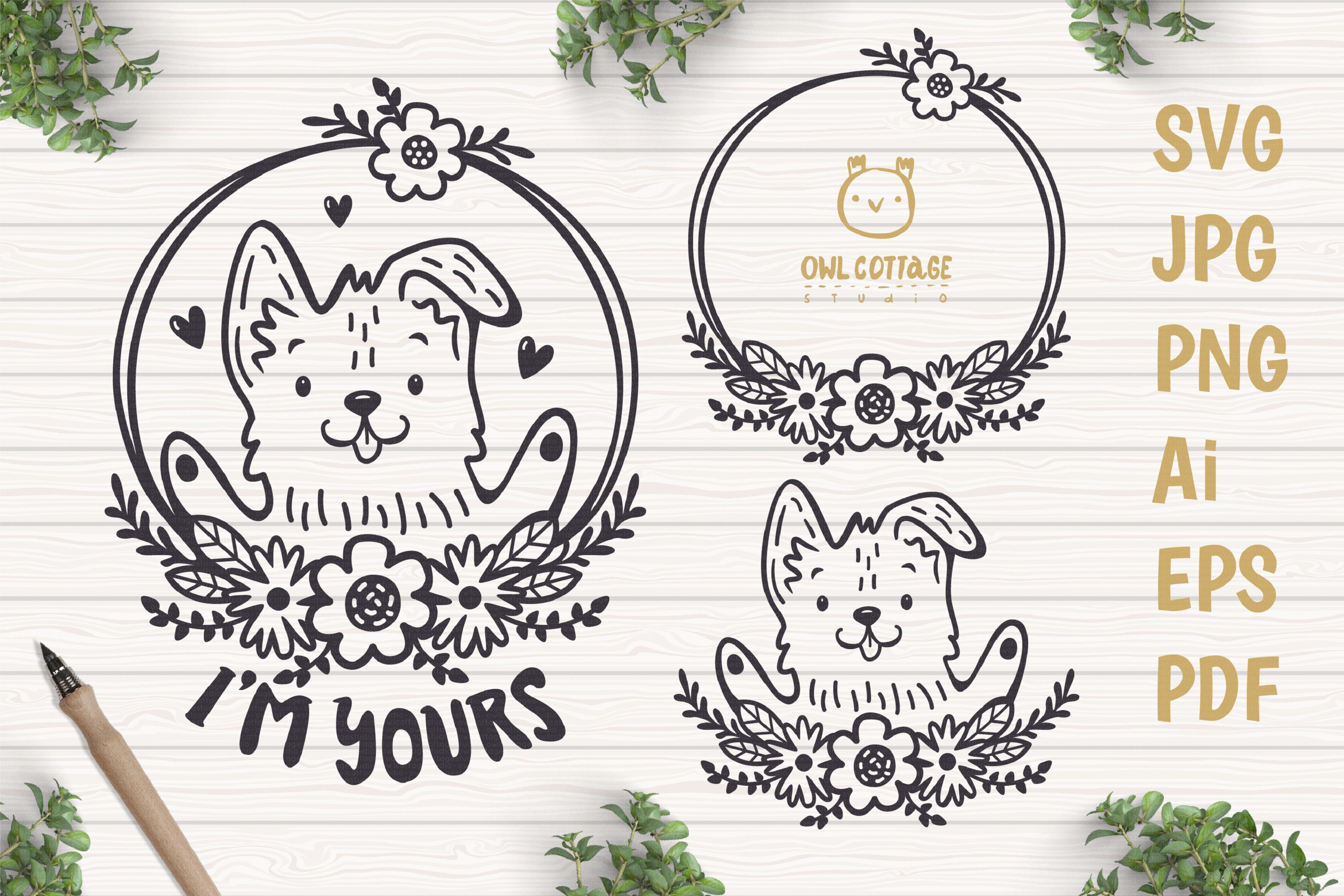 Valentine Dog svg , Puppy with floral decor Svg, Valentine's example image 1